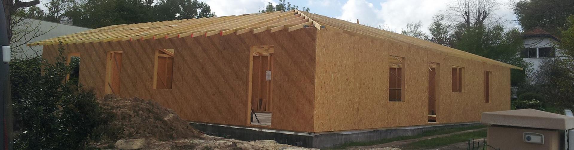 Maison ossature bois gironde agrandissement sur l vation for Agrandissement maison ossature bois